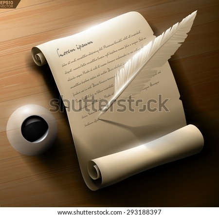 Old manuscript scroll with ink and writing feather. High quality vector illustration. - stock vector