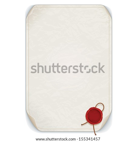 Old Manuscript Scroll with Red Wax Seal. Vector Isolated on White. Ready for Your Text and Design. - stock vector