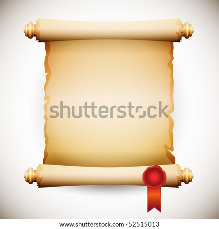 old manuscript with sealing wax stamp - stock vector
