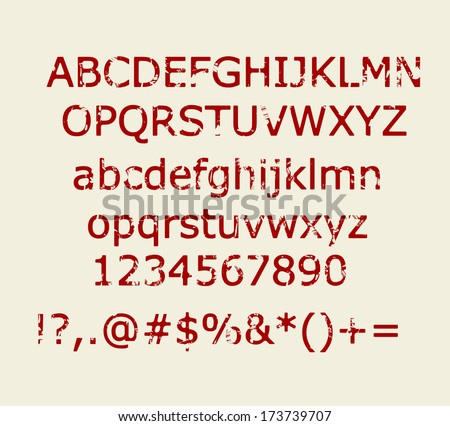 Old maroon red retro rubber stamp style alphabet with numbers and signs vector - stock vector