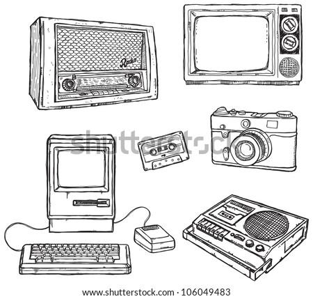 Old media equipment - stock vector