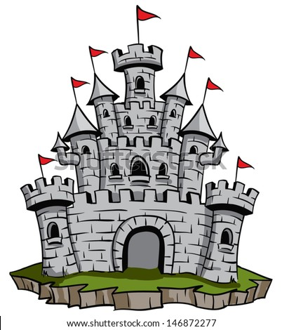 Old medieval stone castle illustration - stock vector