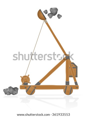 old medieval wooden catapult shooting stones vector illustration isolated on white background - stock vector