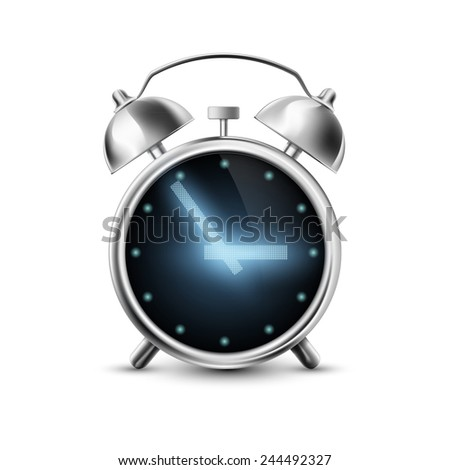 Old metal alarm clock with digital display isolated on white background - stock vector