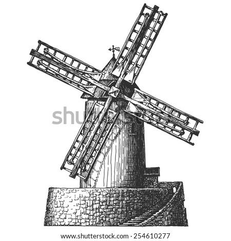 Old mill vector logo design template. flour, wheat, bread or architecture icon. - stock vector