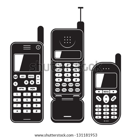 Old mobile phone set 90's. Black and white vector illustration - stock vector