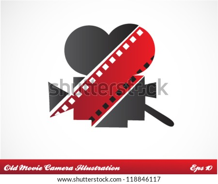 Old Movie Camera Vector Illustration - stock vector