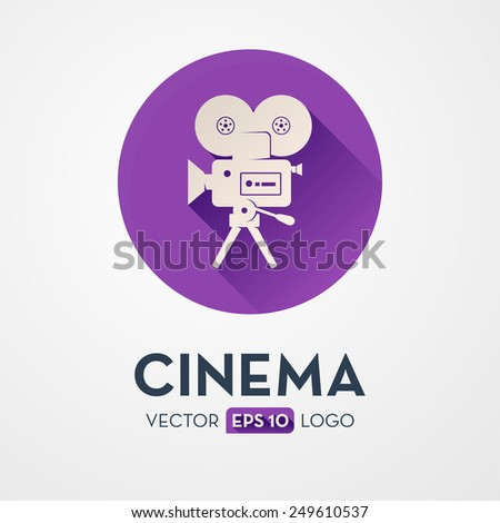 Old movie camera with reel. Flat design icon, logo. Symbol of the film production industry. - stock vector
