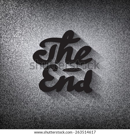 """Old movie ending screen, stylized noir """"The End"""" lettering - stock vector"""