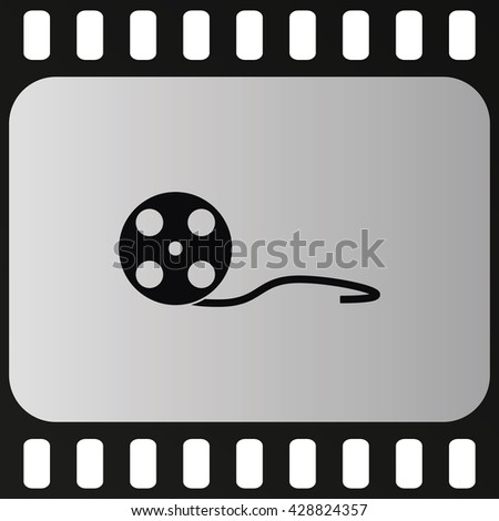 Old movie film strip . Cinema film roll icon. - stock vector