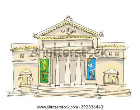 old museum - cartoon - stock vector
