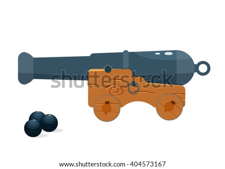 old naval cannon vector illustration. naval gun isolated on a white background - stock vector
