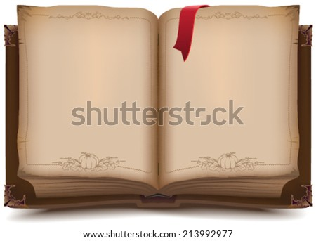 Old open book for Halloween. Illustration in vector format - stock vector