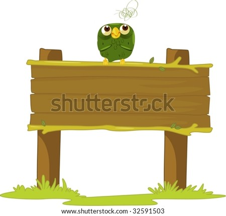 Old owl on a sign post - stock vector