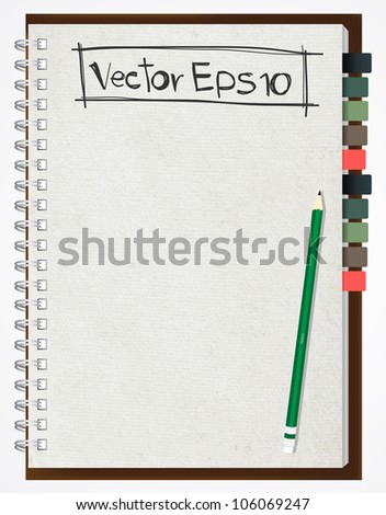 Old paper notebook vector illustration. - stock vector