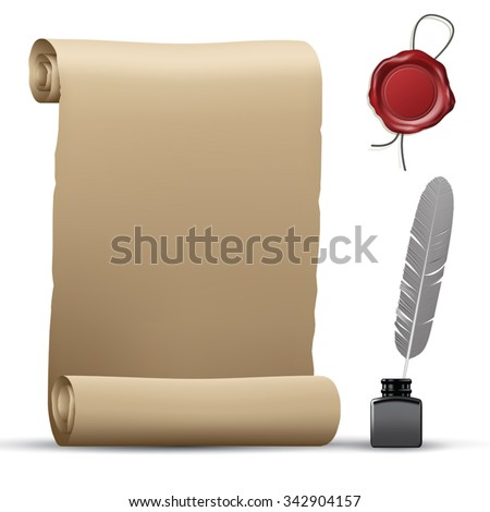 Old paper roll, wax seal and feather pen isolated on white. Vector illustration - stock vector