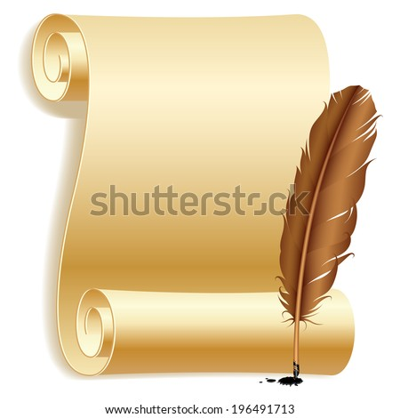 Old paper scroll and feather. - stock vector