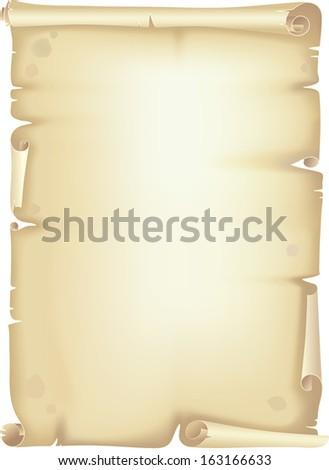 Old paper scroll, manuscript - stock vector