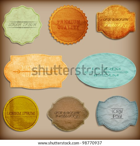 Old paper texture,vintage labels.Vector set - stock vector
