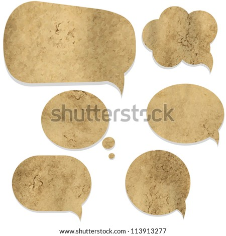 Old Paper Vintage Speech Bubble, Isolated On White Background, Vector Illustration - stock vector