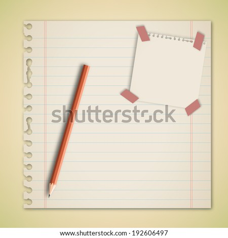 Old Paper with adhesive note and pencil vector - stock vector