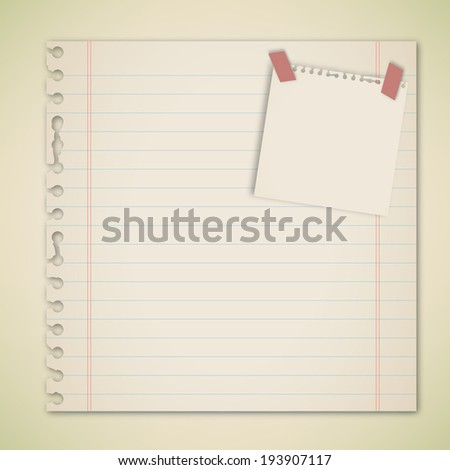 Old Paper with adhesive note vector  - stock vector
