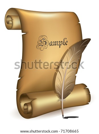 Old paper with feather  vector - stock vector