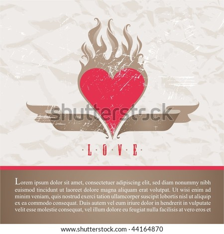 Old paper with vintage flaming heart - stock vector