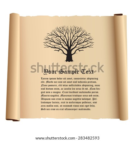 Old Papyrus With Tree And Text - stock vector