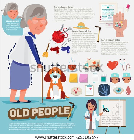 old people with graphic icons set - vector illustration - stock vector