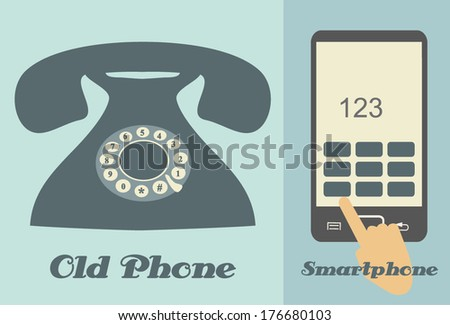 OLD PHONE AND SMARTPHONE flat design illustration  - stock vector