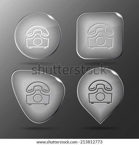 Old phone. Glass buttons. Vector illustration. - stock vector