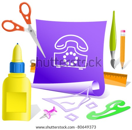 Old phone. Paper template. Raster illustration. - stock vector