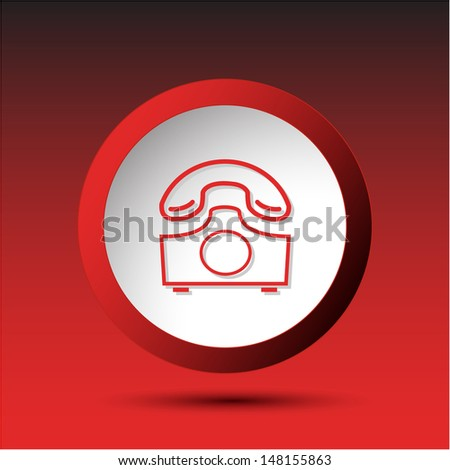 Old phone. Plastic button. Vector illustration. - stock vector