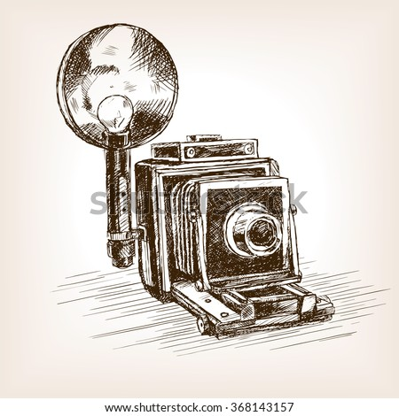 Old photo camera  sketch style vector illustration. Old hand drawn engraving imitation.  - stock vector