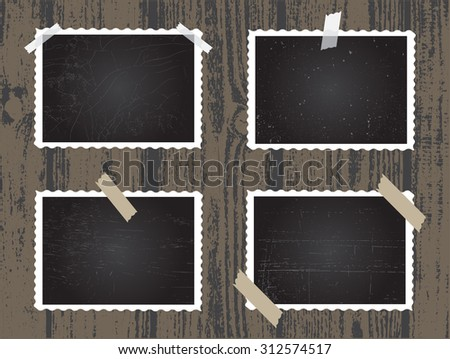 Old photo frames.Photo frames isolated on wooden background.Vector illustration. - stock vector
