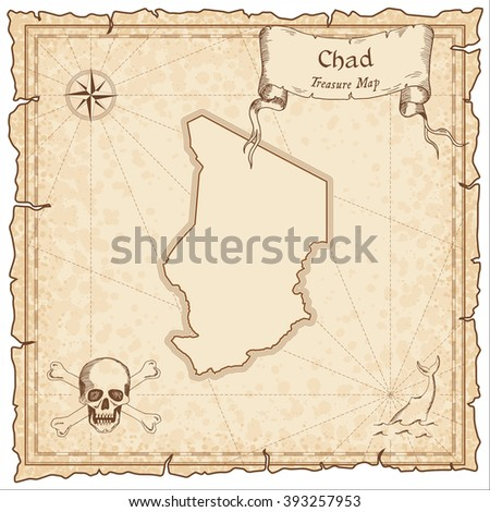 Old pirate map of Chad. Sepia engraved template of Chad pirate map. Treasure map on vintage paper. - stock vector