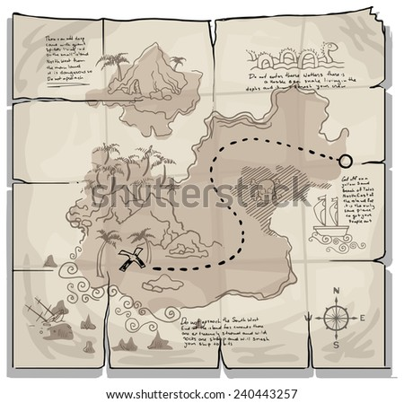 Old pirate map, vector illustration - stock vector