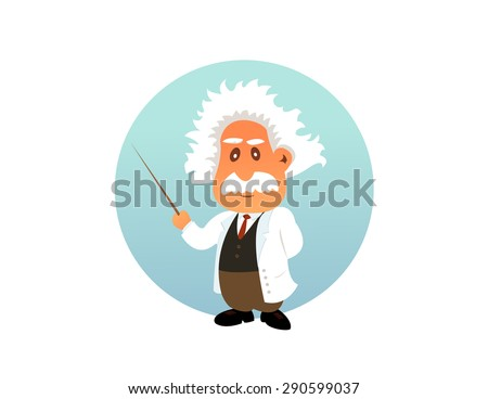 Old professor funny illustration on the white background - stock vector