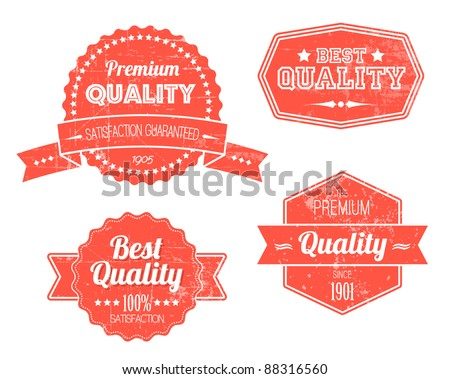 Old red retro vintage grunge labels - premium quality - stock vector