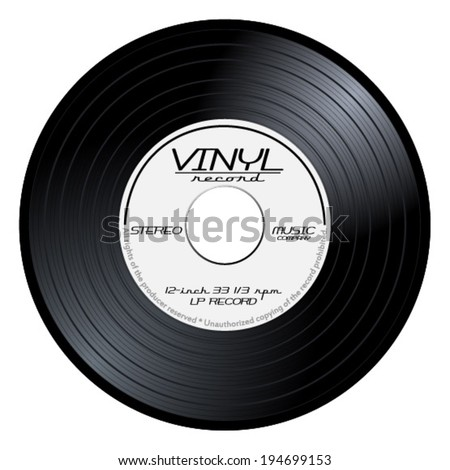 Old, retro black and white record vinyl, LP, eps10 vector art image illustration. isolated on white background  - stock vector
