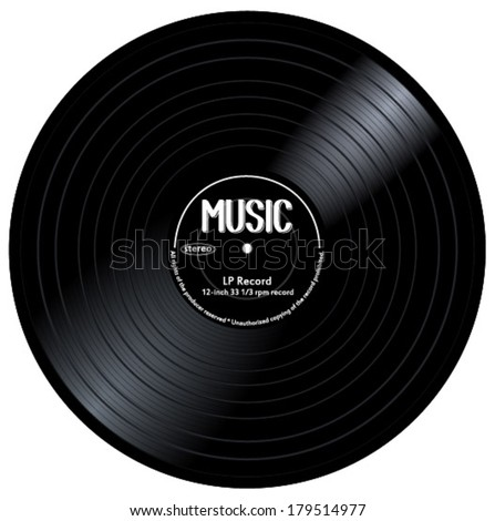 Old, retro black records, LPs, eps10 vector art image. isolated on white background - stock vector