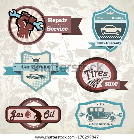 old retro car emblem, collection of vintage vector labels - stock vector