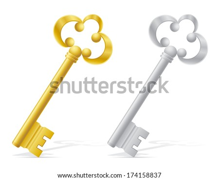 old retro keys door lock vector illustration isolated on white background - stock vector