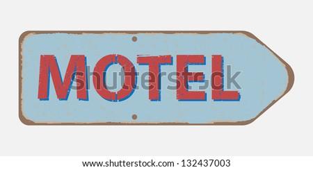 old retro motel roadsign. grunge vintage roadsign - stock vector