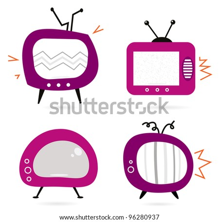 Old retro pink TV collection isolated on white - stock vector