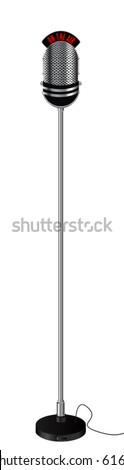 Old retro style radio microphone on a stand. Isolated object over white background - stock vector