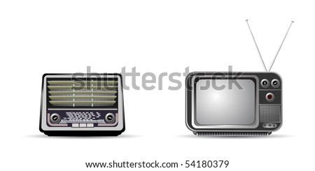 old retro television and radio - stock vector
