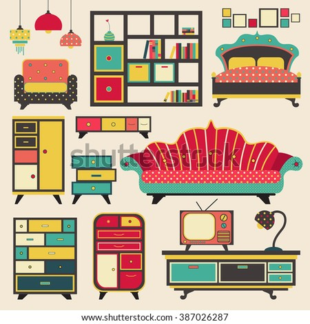 Old retro vintage house appliance furniture and interior decoration flat icon design, create by vector  - stock vector