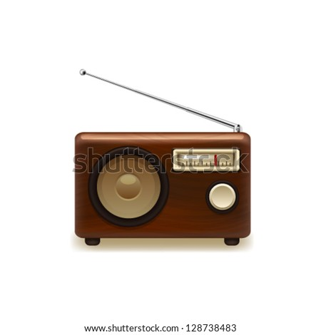 Old retro wooden radio. Vector - stock vector